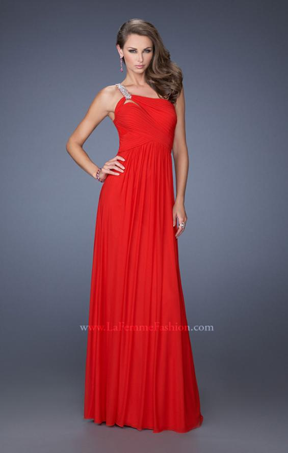 Picture of: One Shoulder Jersey Prom Dress with Embellished Straps in Red, Style: 19639, Detail Picture 1