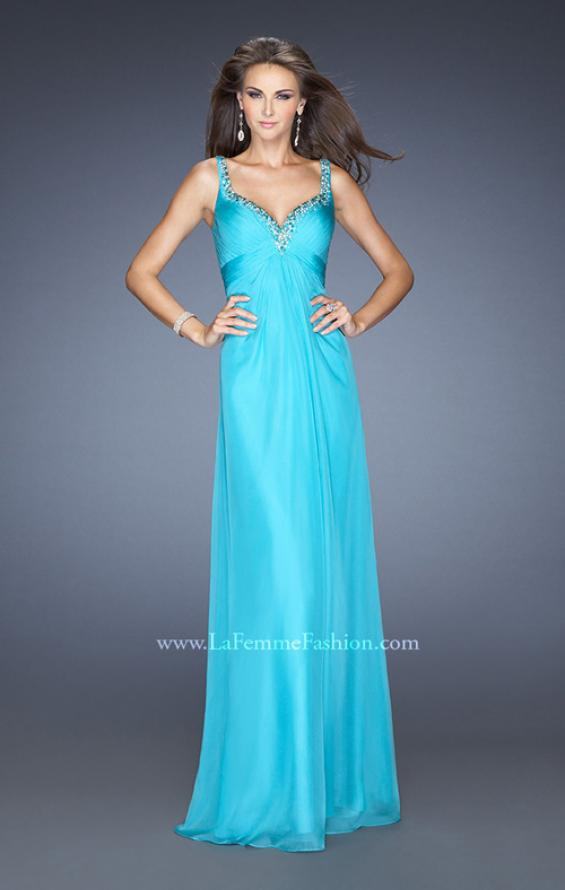 Picture of: Long Chiffon Prom Gown with Empire Waist and Ruched Bodice, Style: 19647, Main Picture