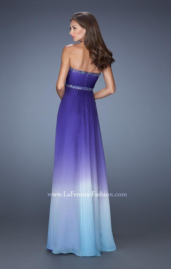 Picture of: Strapless Ombre Long Prom Dress with Beaded Details , Style: 19652, Back Picture