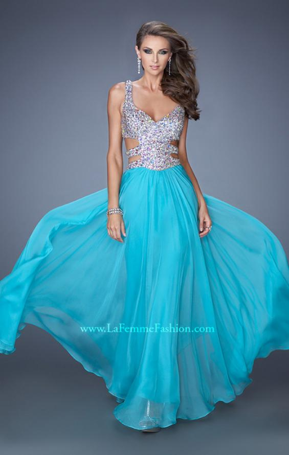Picture of: Long Chiffon Prom Gown with Beaded Bodice and Cut Outs, Style: 19658, Main Picture