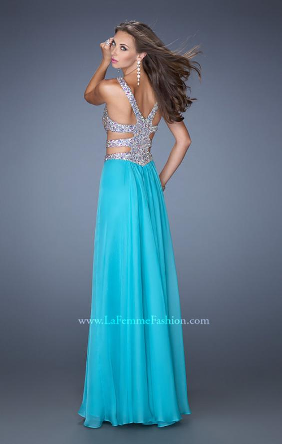 Picture of: Long Chiffon Prom Gown with Beaded Bodice and Cut Outs, Style: 19658, Back Picture