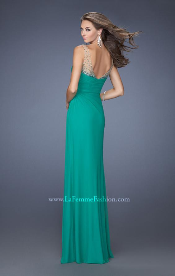Picture of: Long Prom Dress with Ruching and Bedazzled Illusion Straps, Style: 19660, Back Picture