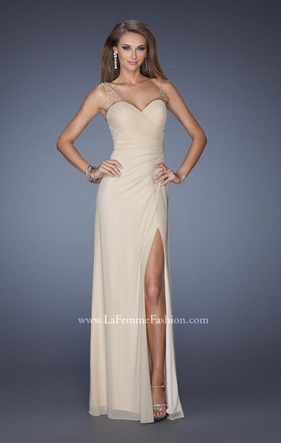Picture of: Long Prom Dress with Ruching and Bedazzled Illusion Straps, Style: 19660, Detail Picture 2