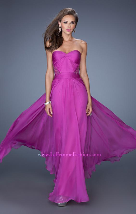 Picture of: Strapless Chiffon Prom Dress with Intricately Pleated Bodice in Pink, Style: 19662, Main Picture