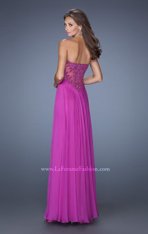 Picture of: Strapless Chiffon Prom Dress with Intricately Pleated Bodice in Pink, Style: 19662, Back Picture