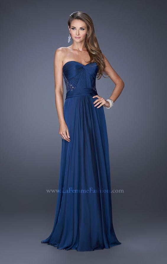 Picture of: Strapless Chiffon Prom Dress with Intricately Pleated Bodice in Blue, Style: 19662, Detail Picture 1