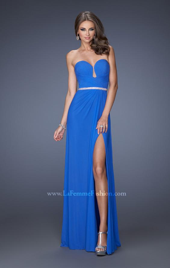 Picture of: Strapless Sweetheart Long Prom Dress with Rhinestone Belt, Style: 19671, Main Picture
