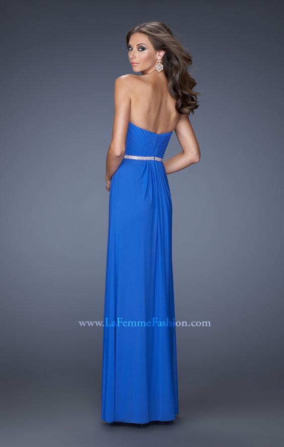 Picture of: Strapless Sweetheart Long Prom Dress with Rhinestone Belt, Style: 19671, Back Picture