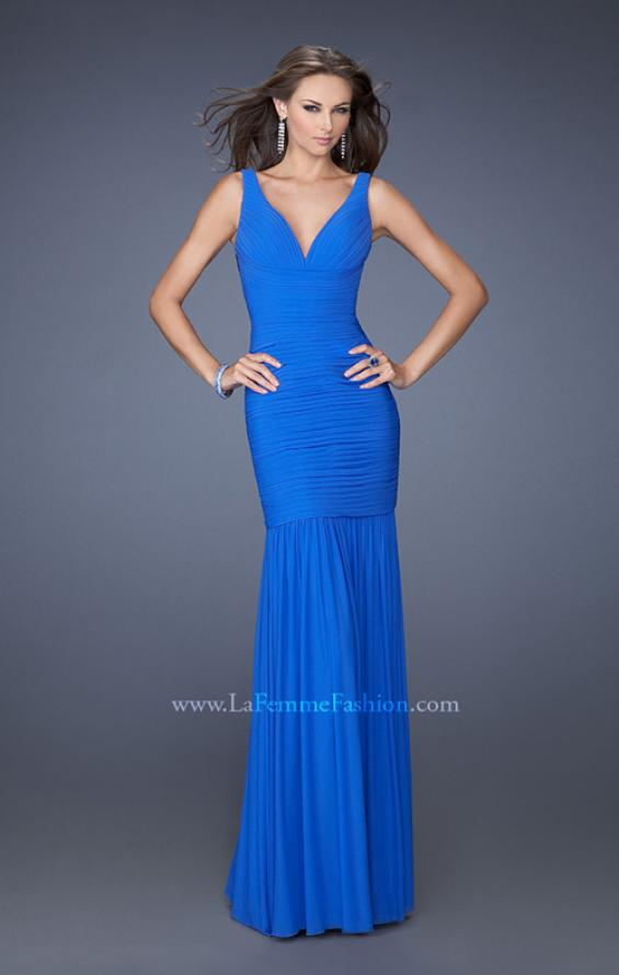 Picture of: Fitted Ruched Mermaid Prom Dress with Sheer Jeweled Back, Style: 19678, Main Picture
