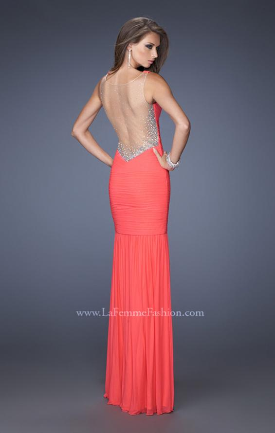 Picture of: Fitted Ruched Mermaid Prom Dress with Sheer Jeweled Back, Style: 19678, Back Picture