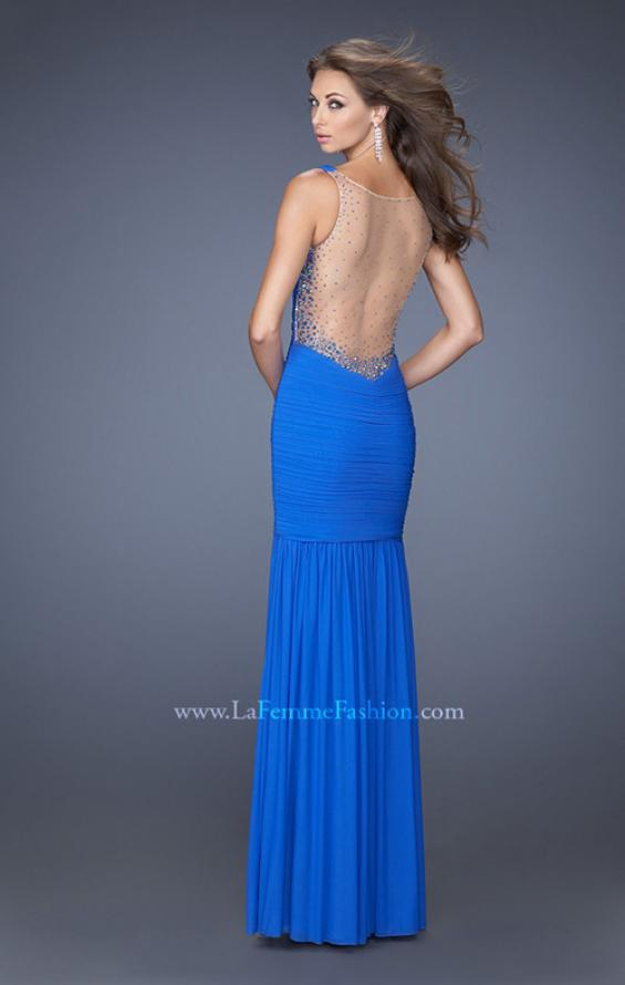 Picture of: Fitted Ruched Mermaid Prom Dress with Sheer Jeweled Back, Style: 19678, Detail Picture 2