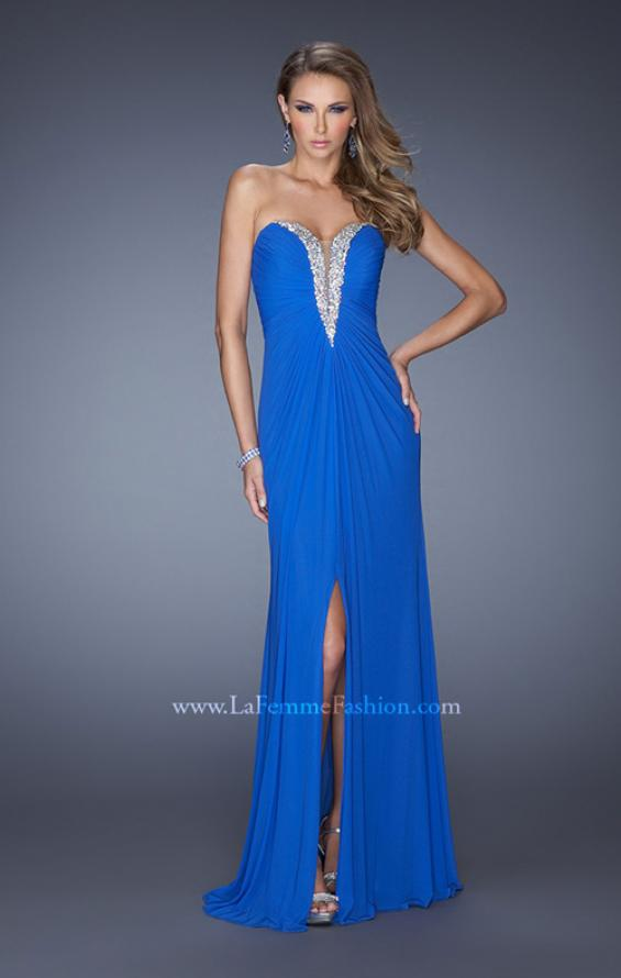 Picture of: Long Strapless Prom Dress with Bedazzled Sweetheart Bodice in Blue, Style: 19679, Main Picture
