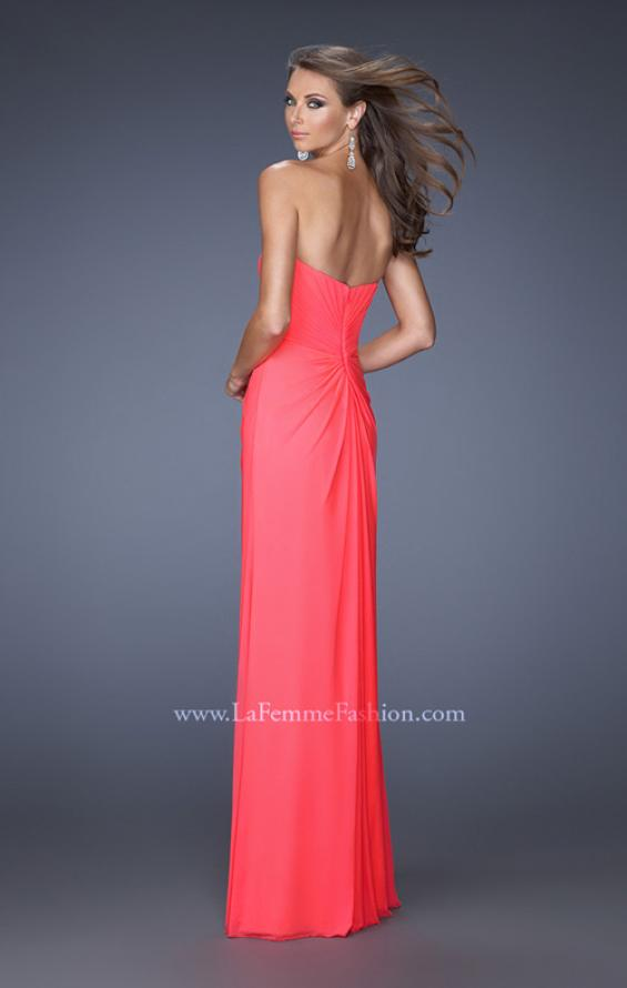 Picture of: Long Strapless Prom Dress with Bedazzled Sweetheart Bodice in Pink, Style: 19679, Back Picture