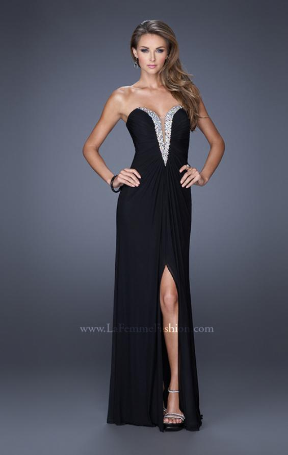 Picture of: Long Strapless Prom Dress with Bedazzled Sweetheart Bodice in Black, Style: 19679, Detail Picture 2
