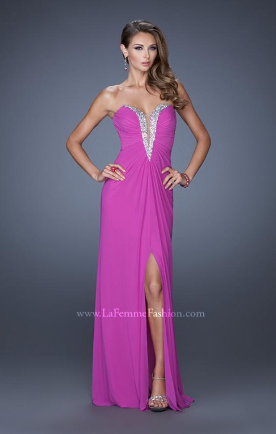 Picture of: Long Strapless Prom Dress with Bedazzled Sweetheart Bodice in Purple, Style: 19679, Detail Picture 3