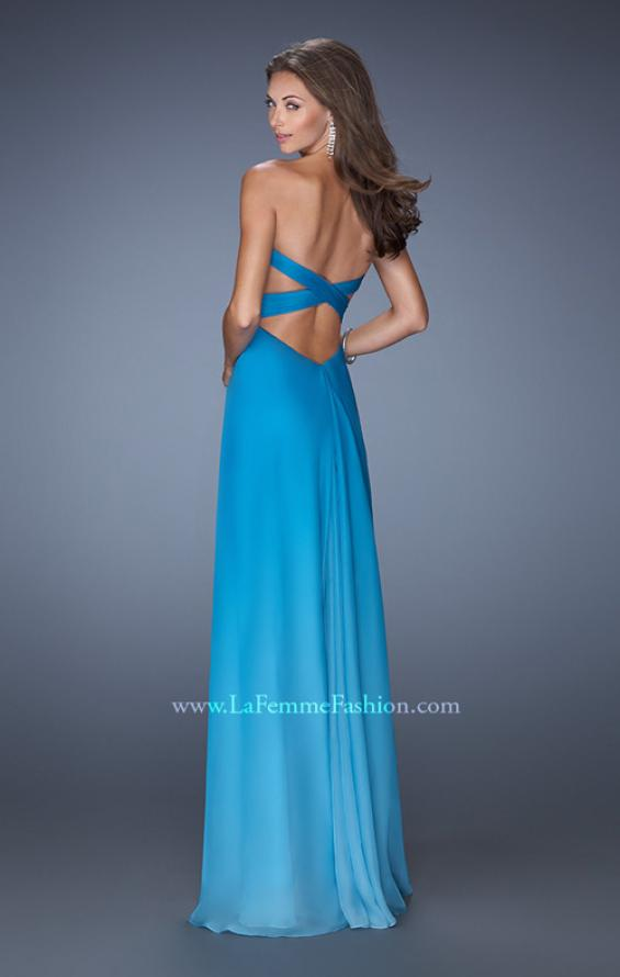 Picture of: Long Strapless Chiffon Prom Gown with Strappy Open Back in Blue, Style: 19686, Back Picture