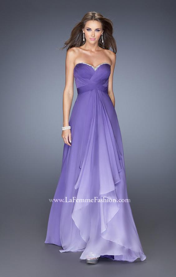Picture of: Long Strapless Chiffon Prom Gown with Strappy Open Back in Purple, Style: 19686, Detail Picture 1
