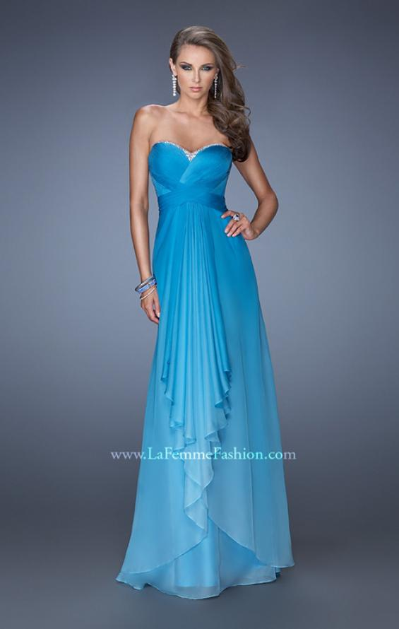 Picture of: Long Strapless Chiffon Prom Gown with Strappy Open Back in Blue, Style: 19686, Detail Picture 2