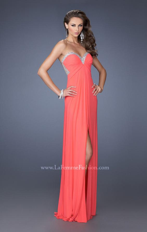 Picture of: Strapless Sweetheart Jersey Prom Dress with Beaded Trim, Style:  19703,
