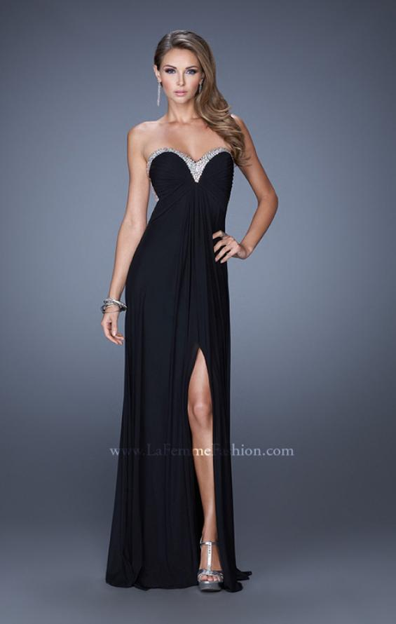 Picture of: Strapless Sweetheart Jersey Prom Dress with Beaded Trim, Style: 19703, Detail Picture 1