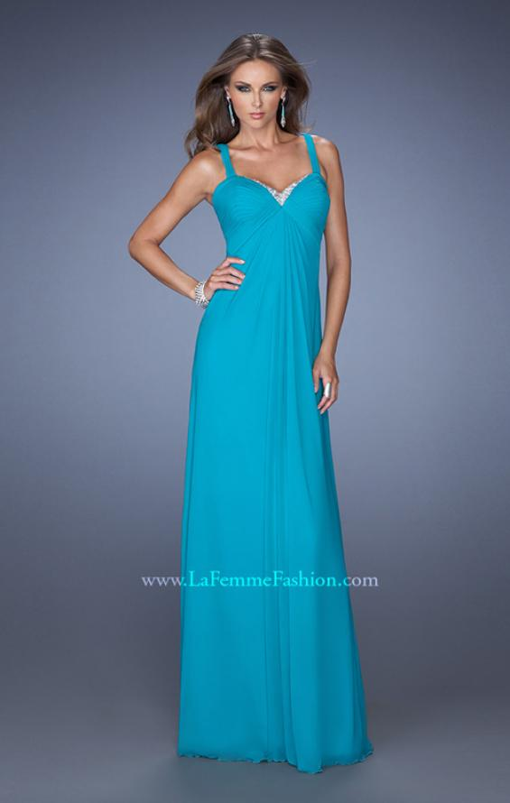 Picture of: Jersey Prom Dress with Pleated Bodice and Sparkling Trim in Blue, Style: 19704, Detail Picture 3