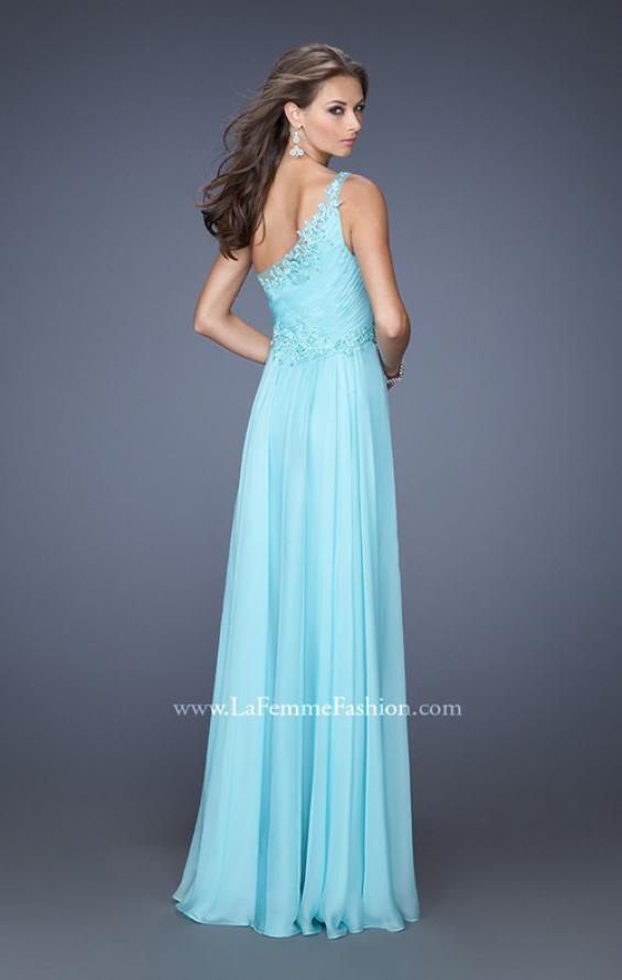 Picture of: One Shoulder Chiffon Long Prom Dress Trimmed with Lace in Blue, Style: 19706, Back Picture