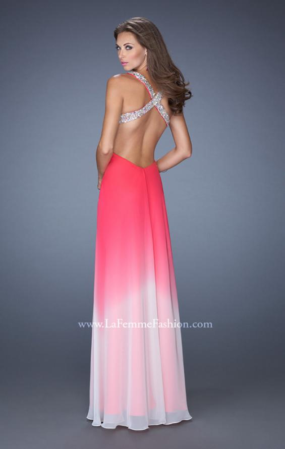 Picture of: Long Ombre Chiffon Prom Dress with Bedazzled Straps , Style: 19709, Back Picture
