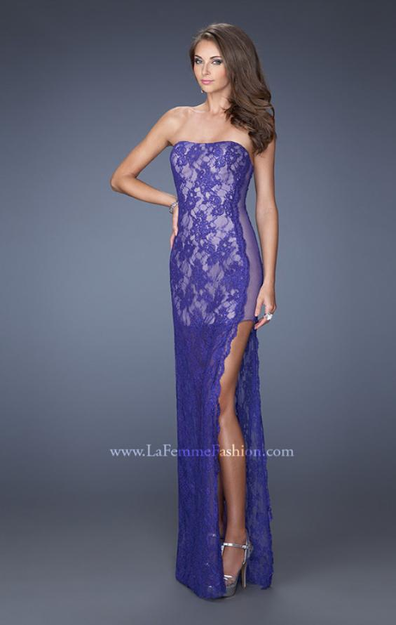 Picture of: Strapless Prom Dress Lace Overlay and an Open Side Slit in Purple, Style: 19717, Main Picture