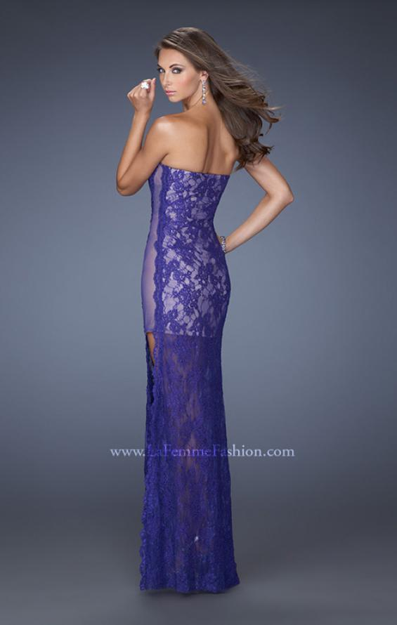 Picture of: Strapless Prom Dress Lace Overlay and an Open Side Slit in Purple, Style: 19717, Back Picture