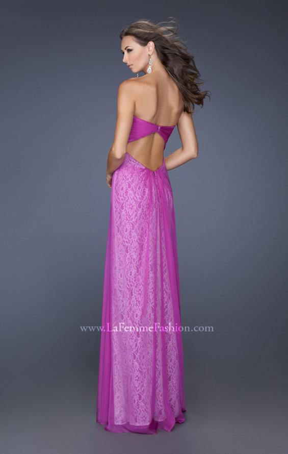 Picture of: Long Strapless Chiffon Prom Dress with Lace Underlay, Style: 19719, Back Picture