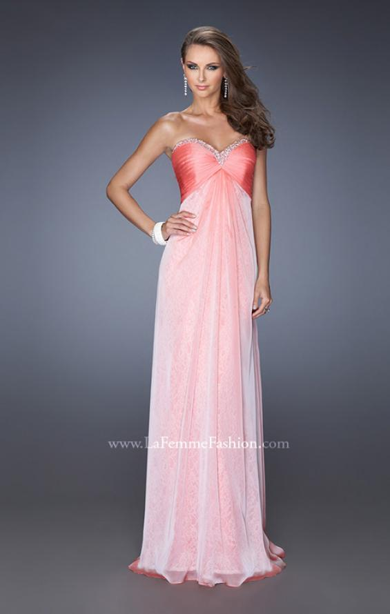 Picture of: Long Strapless Chiffon Prom Dress with Lace Underlay, Style: 19719, Detail Picture 1