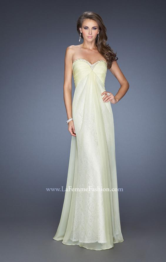 Picture of: Long Strapless Chiffon Prom Dress with Lace Underlay, Style: 19719, Detail Picture 2