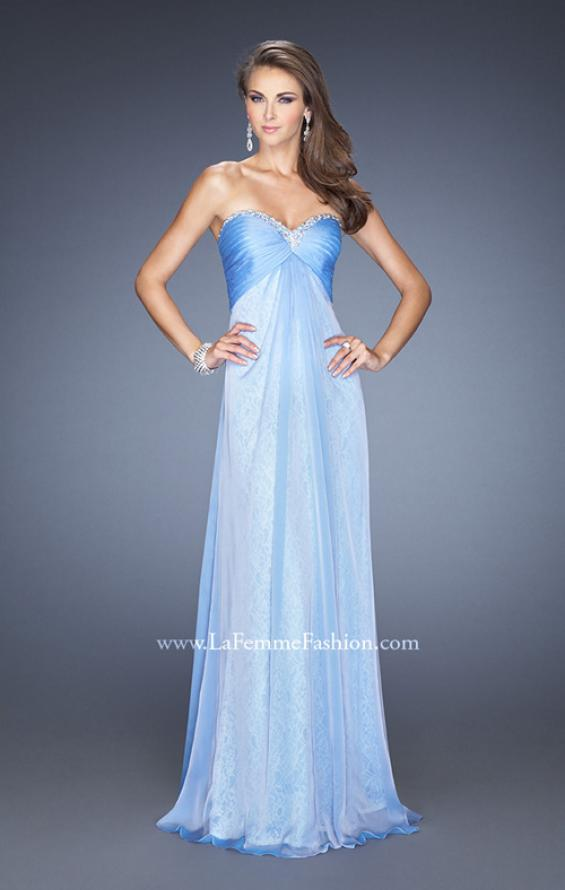 Picture of: Long Strapless Chiffon Prom Dress with Lace Underlay, Style: 19719, Detail Picture 3