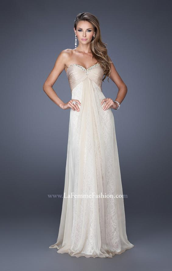 Picture of: Long Strapless Chiffon Prom Dress with Lace Underlay, Style: 19719, Detail Picture 4