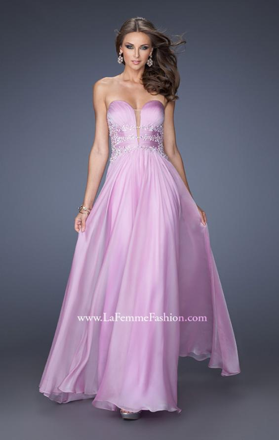 Picture of: Long Chiffon Prom Dress with Ruched Bodice and Jeweled Lace in Purple, Style: 19724, Main Picture