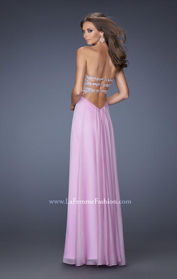 Picture of: Long Chiffon Prom Dress with Ruched Bodice and Jeweled Lace in Purple, Style: 19724, Back Picture