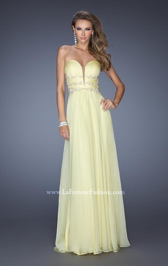 Picture of: Long Chiffon Prom Dress with Ruched Bodice and Jeweled Lace in Yellow, Style: 19724, Detail Picture 1