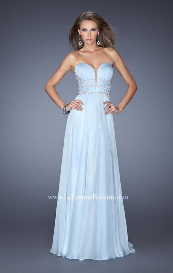 Picture of: Long Chiffon Prom Dress with Ruched Bodice and Jeweled Lace in Blue, Style: 19724, Detail Picture 2