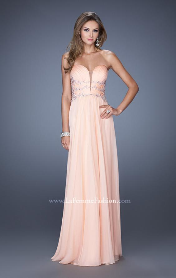 Picture of: Long Chiffon Prom Dress with Ruched Bodice and Jeweled Lace in Orange, Style: 19724, Detail Picture 3