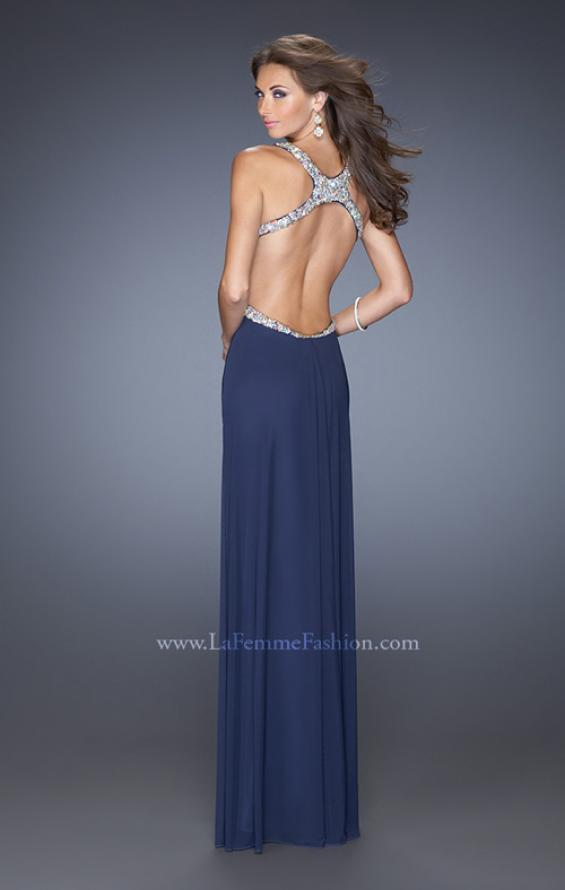 Picture of: Long Jersey Prom Dress with Ruched Bodice and Beading, Style: 19729, Back Picture