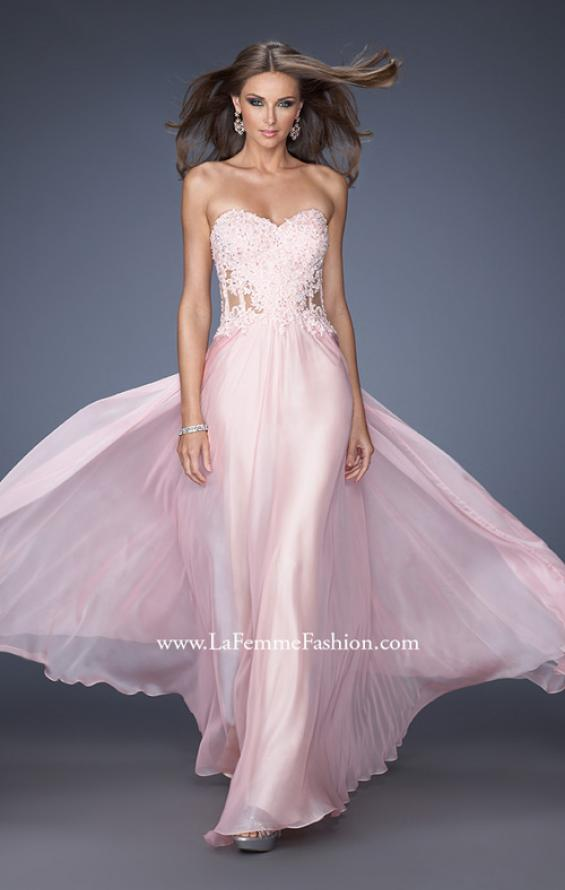 Picture of: Strapless Chiffon Prom Gown with Sheer Corset Lace Bodice, Style: 19730, Main Picture