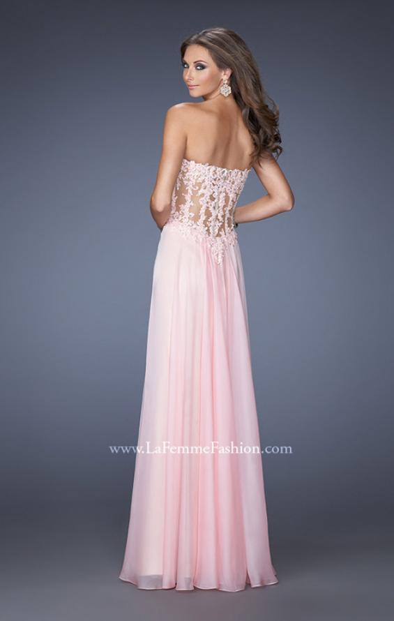 Picture of: Strapless Chiffon Prom Gown with Sheer Corset Lace Bodice, Style: 19730, Back Picture