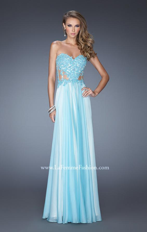 Picture of: Strapless Chiffon Prom Gown with Sheer Corset Lace Bodice, Style: 19730, Detail Picture 1