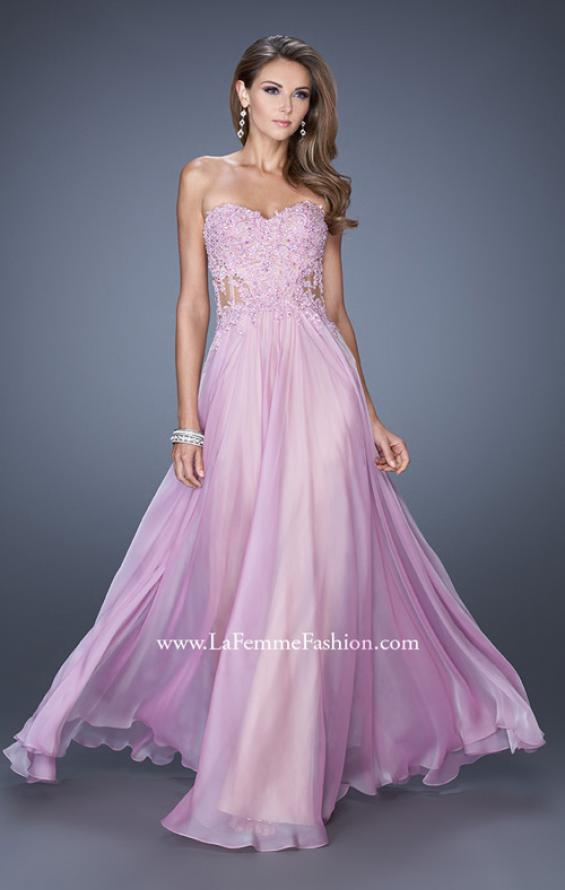 Picture of: Strapless Chiffon Prom Gown with Sheer Corset Lace Bodice, Style: 19730, Detail Picture 2