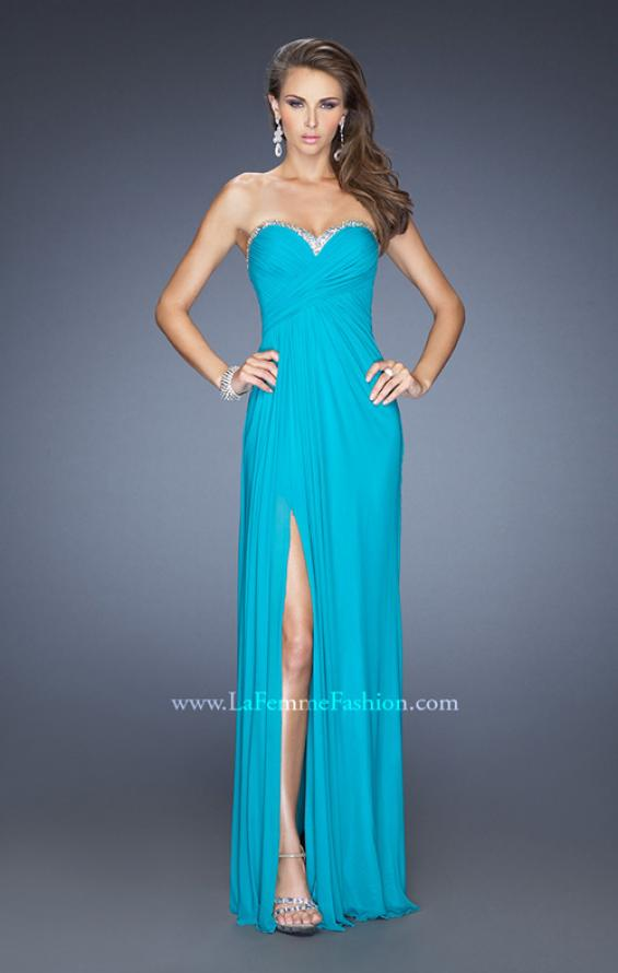 Picture of: Strapless Long Prom Dress with Beaded Trim on the Bodice, Style: 19731, Detail Picture 1