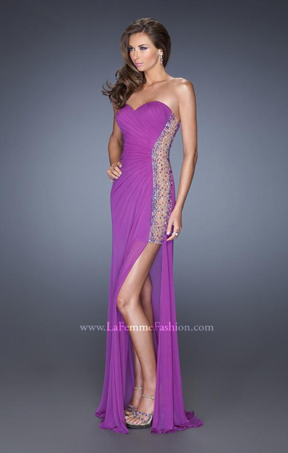 Picture of: Long Fitted Jersey Strapless Gown with a Sheer Side Detail in Purple, Style: 19737, Main Picture