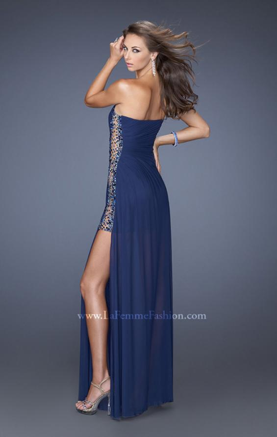 Picture of: Long Fitted Jersey Strapless Gown with a Sheer Side Detail in Blue, Style: 19737, Back Picture