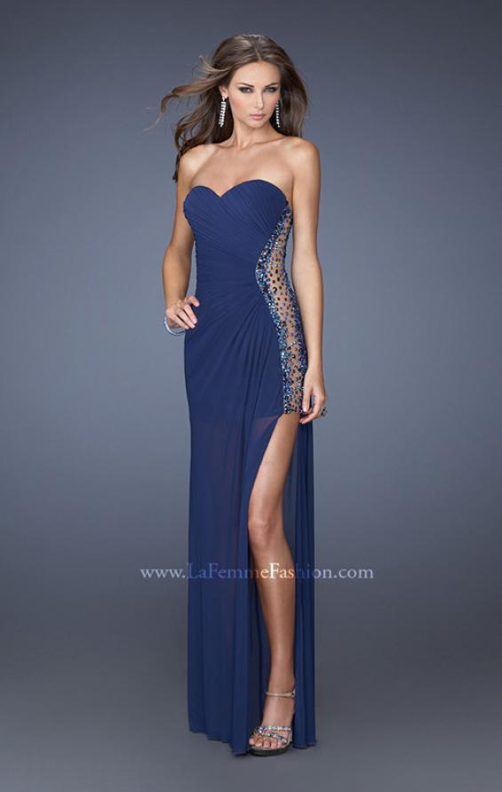 Picture of: Long Fitted Jersey Strapless Gown with a Sheer Side Detail in Blue, Style: 19737, Detail Picture 2