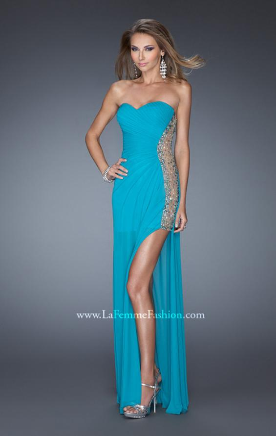 Picture of: Long Fitted Jersey Strapless Gown with a Sheer Side Detail in Blue, Style: 19737, Detail Picture 3