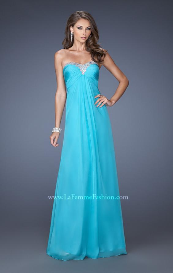 Picture of: Strapless Chiffon Long Prom Gown with Bedazzled Trim in Blue, Style: 19739, Main Picture